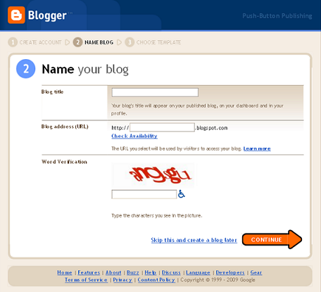 Create your very first website on blogger.com