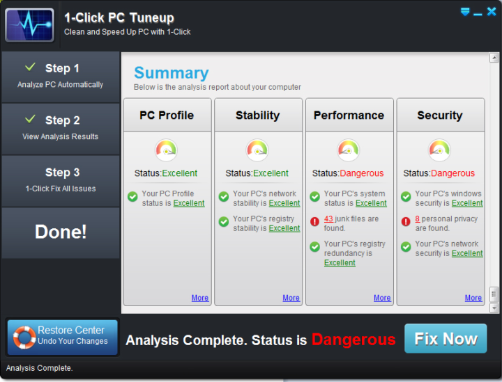 1-click pc tuneup software