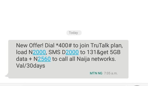 MTN 5gb for N2000