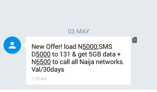 MTN 5gb plus 6500 airtime