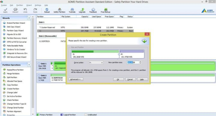 how to create a new partition with AOMEI Partition Assistant tool