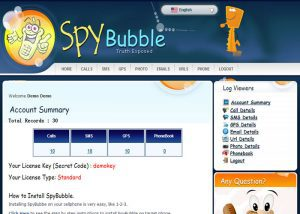 SpyBubble cell phone app