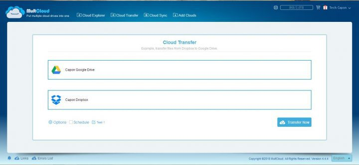 MultCloud Transfer features