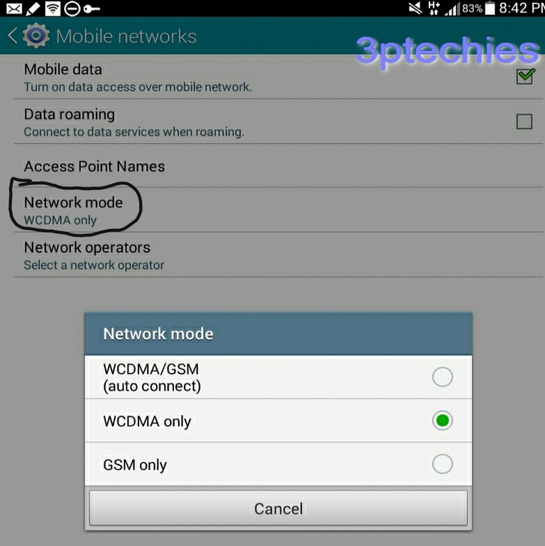 android force 3g only mode for data